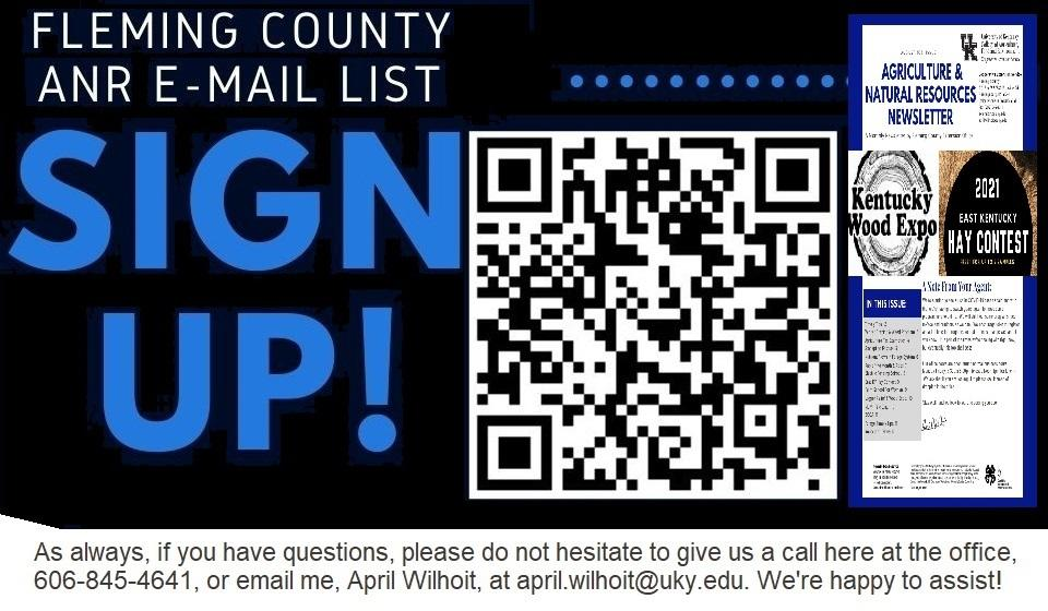 Agriculture & Natural Resources QR sign up for Newsletters